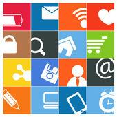 Les médias sociaux modernes couleur interface boutons — Vecteur
