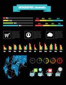 éléments d'infographique de couleur sur fond noir — Vecteur