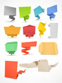 Colorful polygonal origami banners set. Place your text here — Stock Vector