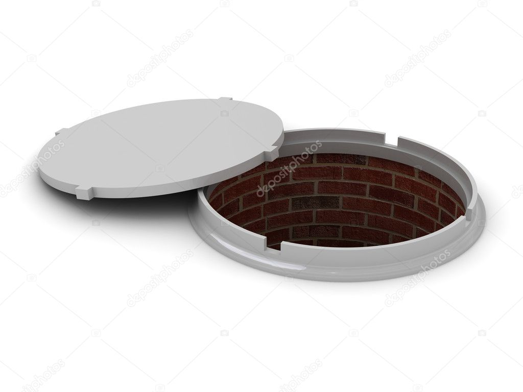 Conceptual opened manhole on a white background — Stock Photo #10940069