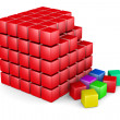 Stock Photo: 3d red cube built from blocks