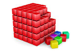 3d red cube built from blocks — Stock Photo