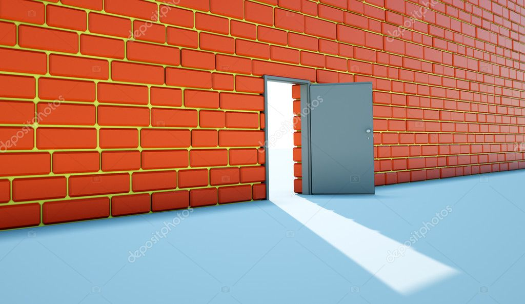 Open bright door opposite to red  wall — Stock Photo #10954325