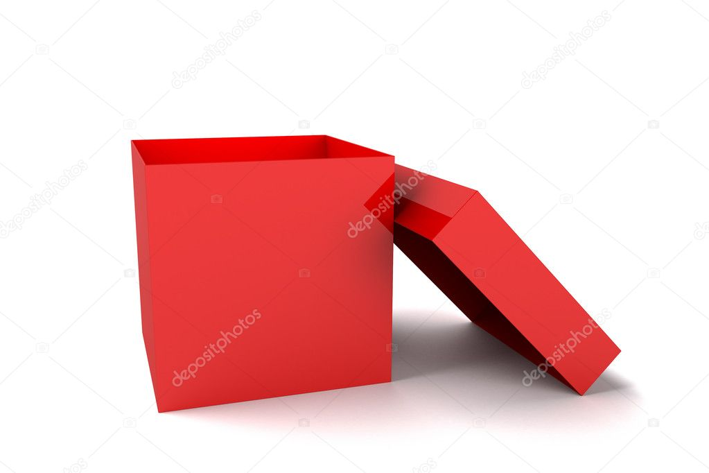 Red open box  on white — Stok fotoğraf #11128975