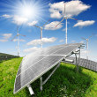 Solar energy panels and wind turbine — Stock Photo #10787226