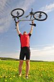 Biker with the mountain bike — Stock Photo