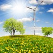Spring tree with wind turbines — Stock Photo #10947923