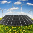 Solar energy panels and wind turbine — Stock Photo #10948212