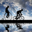 Silhouette cyclists — Stock Photo #11072713