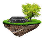 Little island with solar panel and spring tree — Stock Photo