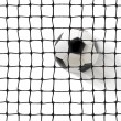 Soccer ball flying into the gates — Stockfoto