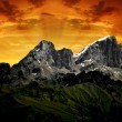 Mountain Marmolada in the sunset - Stock Photo