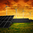 Stock Photo: Solar panels and wind turbine