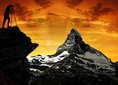Photographer taking a picture Matterhorn — Stock Photo