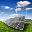 Solar energy panels and wind turbine — Stock Photo #12139514