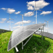 Solar energy panels and wind turbine — Stock Photo #12386980