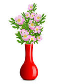 Dog rose in the red vase — Stock Photo