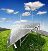 Solar energy panels and wind turbine — Foto de Stock
