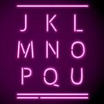 Realistic Neon Alphabet, J-U — Stock Vector #10859446