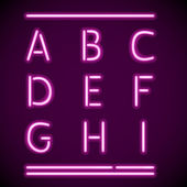 Realistische neon alfabet, een-i — Stockvector