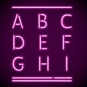 现实霓虹灯字母表,a 至 i — 图库矢量图片