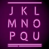 Realistic Neon Alphabet, J-U — Stock Vector