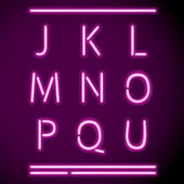 Realistische neon alfabet, j-u — Stockvector