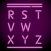 Wektor światło neon alfabet, r-z — Wektor stockowy