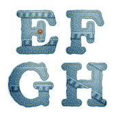 Denim alphabet. Jeans letters E F G H — Stock Vector