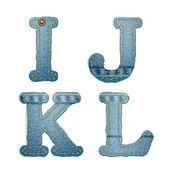 Denim alphabet. Jeans letters I J K L — Stock Vector