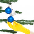 Foto Stock: Dressing christmas tree
