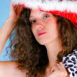 Beautiful woman in red hat — Stock Photo