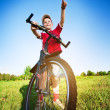 Stock Photo: Six year old boy on bike