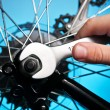 Stock Photo: Repairing bike