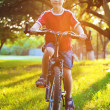 Happy  boy rides a bicycle in the park — Stock Photo