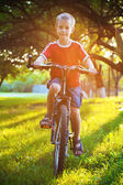 Menino feliz anda de bicicleta no parque — Foto Stock