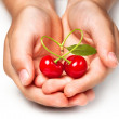 Palm with two cherries in the form of heart — Stock Photo #11511627