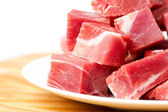 Pieces of frozen meat isolated — Stock Photo