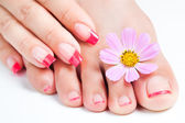 Manicure and pedicure relaxing with flowers — Stock Photo