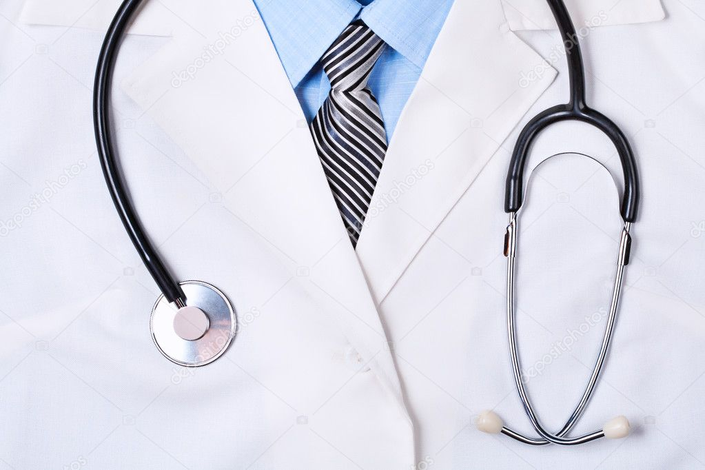 Close up of a doctors lab white coat with stethoscope — Photo #11849341