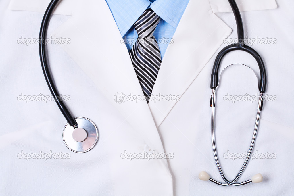 Close up of a doctors lab white coat with stethoscope — 图库照片 #11849341
