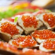 Stock Photo: Sandwiches with red caviar on plate. close-up