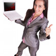 Businessman with laptop is showing thumb up. — Stock Photo #12380827