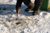 Pesca en el hielo — Foto de Stock