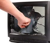 Man's hand crush television screen — Stock Photo