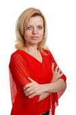 Poważne kobieta w red Blouse czerwona bluzka — Zdjęcie stockowe