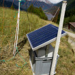 Solar panel in the Swiss Alps - Stock Photo