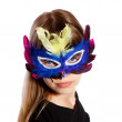 Girl with colorful feather masks — Stock Photo #12133026