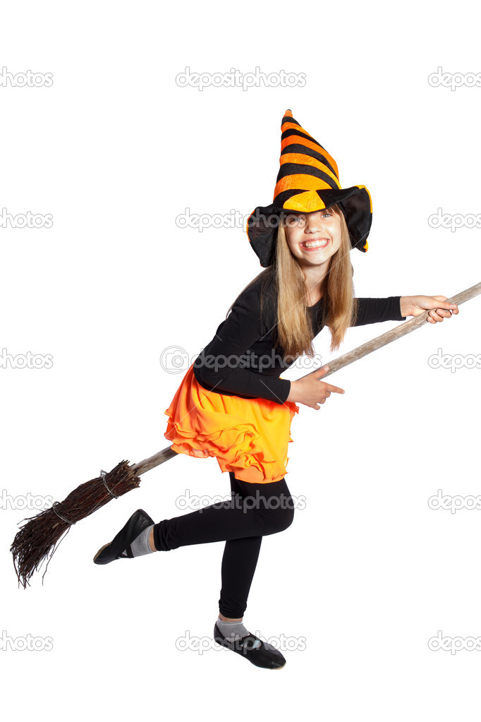 Little witch flying with her ??broom on white background — Stock Photo #12189295