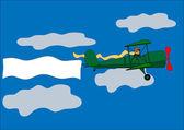 Airplane, banner, biplane, vector illustration — Stock Vector